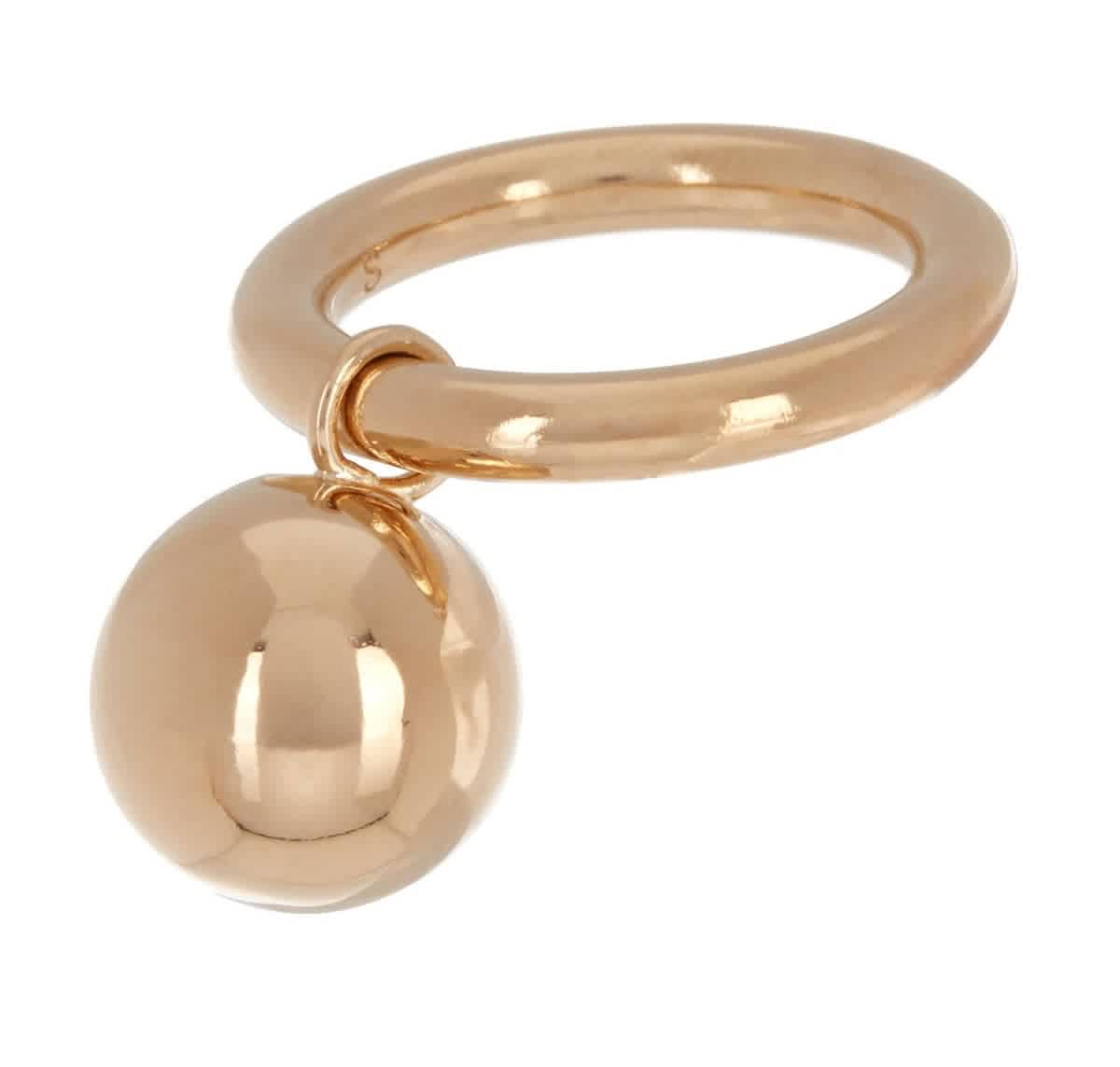Burberry Ladies Round Charm Gold-plated Ring In Brown,gold Tone