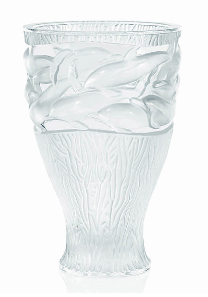 Lalique Crystal Oceania Vase 12566 In Transparent
