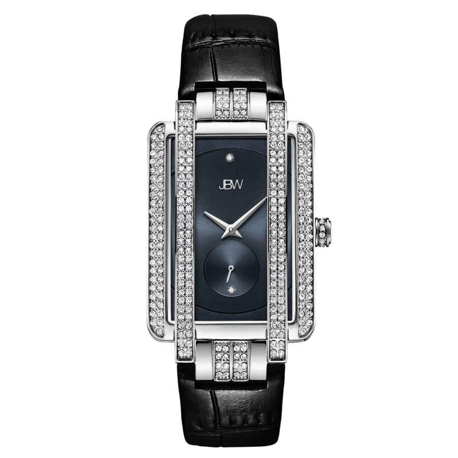 Jbw Mink Quartz Diamond Crystal Blue Dial Ladies Watch J6358l-c In Black,blue
