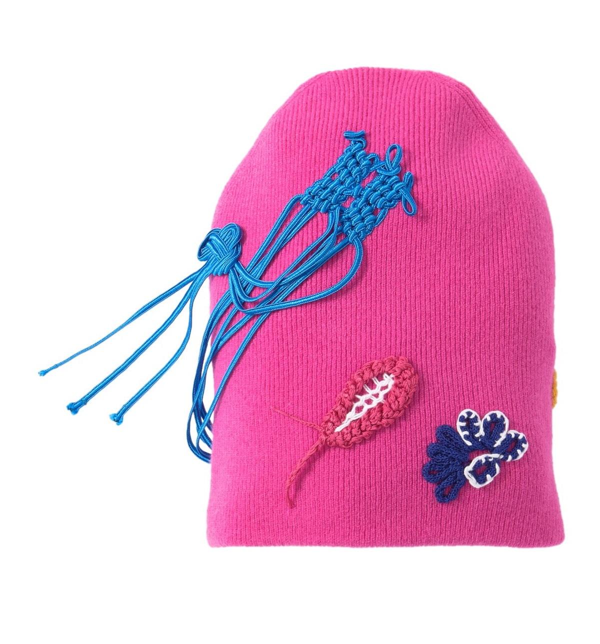Burberry Fuchsia Pink Floral Crochet Cashmere Blend Beanie In Multi