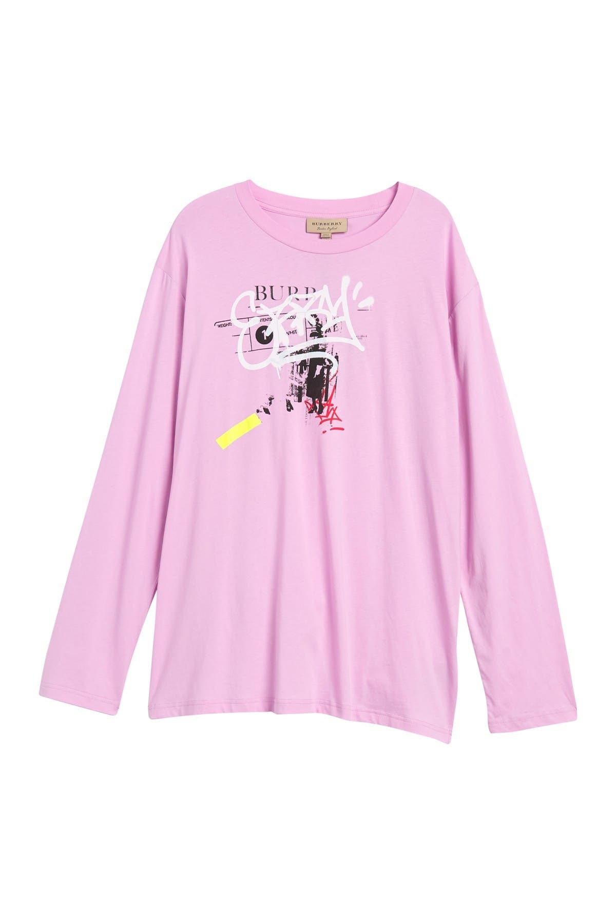 Burberry Cordan Graffitied Print Cotton T-shirt In Pink