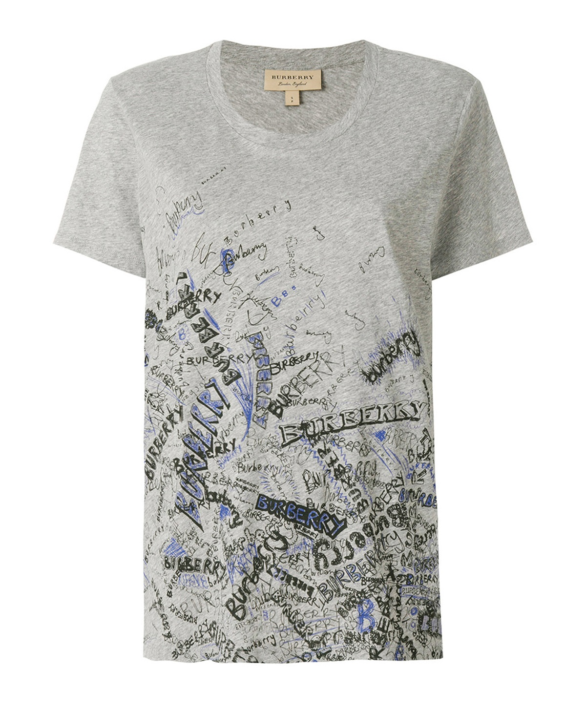 Burberry Doodle Print Cotton T-shirt In Grey