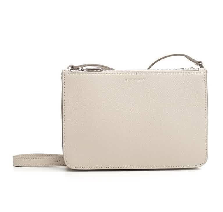 Burberry Stone Ladies Triple Zip Crossbody Bag In White
