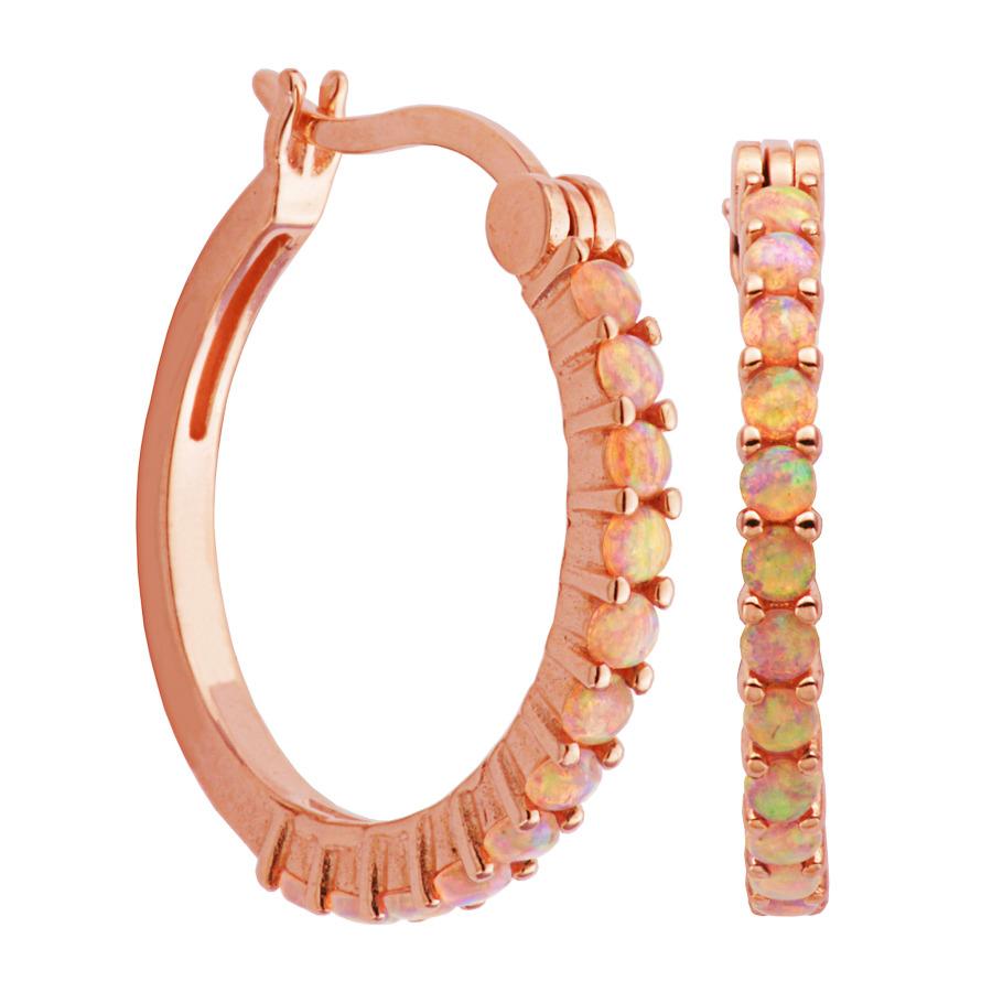 Classic Treasures 14k Rose Gold Plated Sterling Silver Created Pink Opal Hoop Earrings S2ahjp940k-rnbeu00 In Metallic