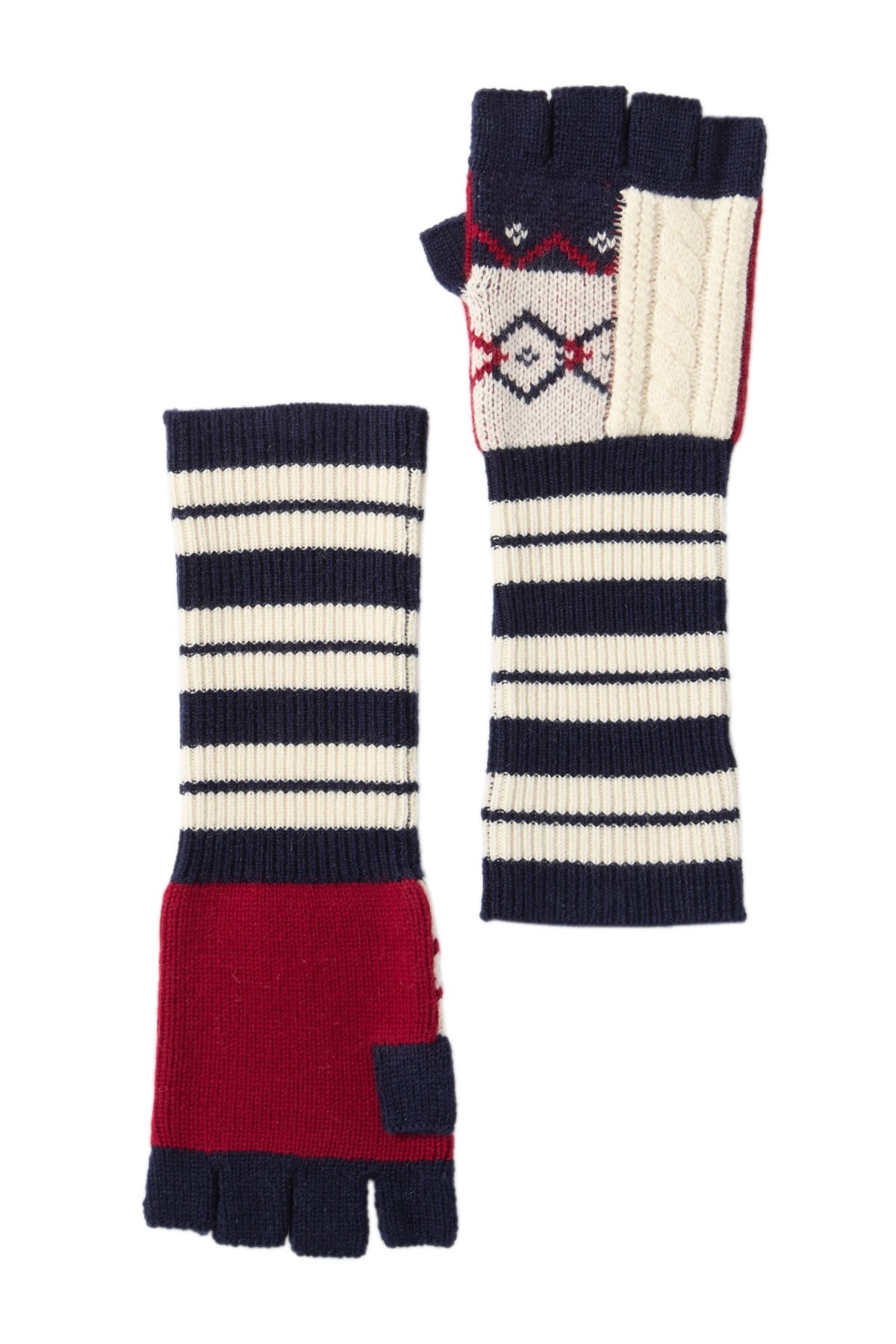 Burberry Cable Knit Fingerless Gloves In Multi