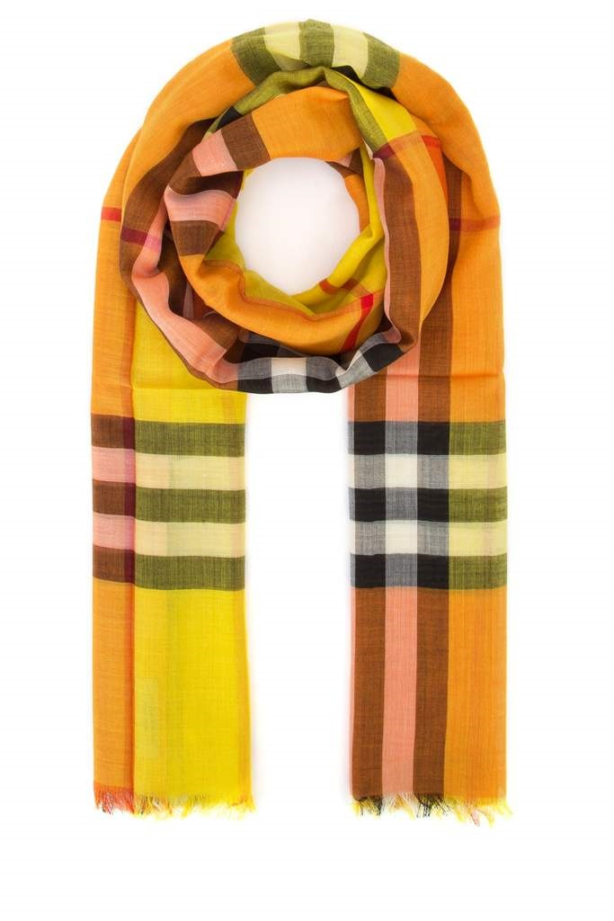 Burberry Colorblock Knit Scarf In Orange,yellow