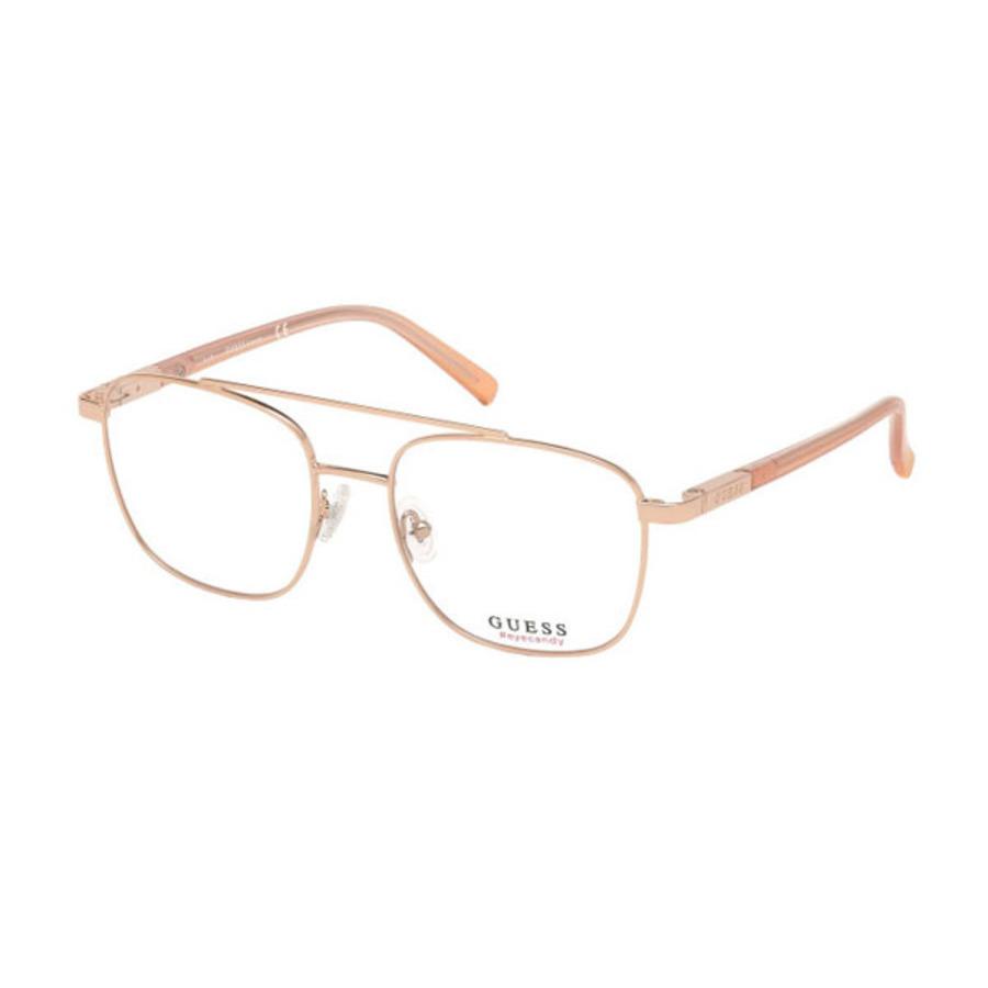 Guess Unisex Rose Gold Tone Rectangular Eyeglass Frames Gu303802852 In Brown