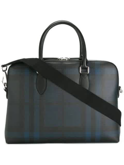 Burberry Slim Navy And Black Checked Briefcase In Black,blue