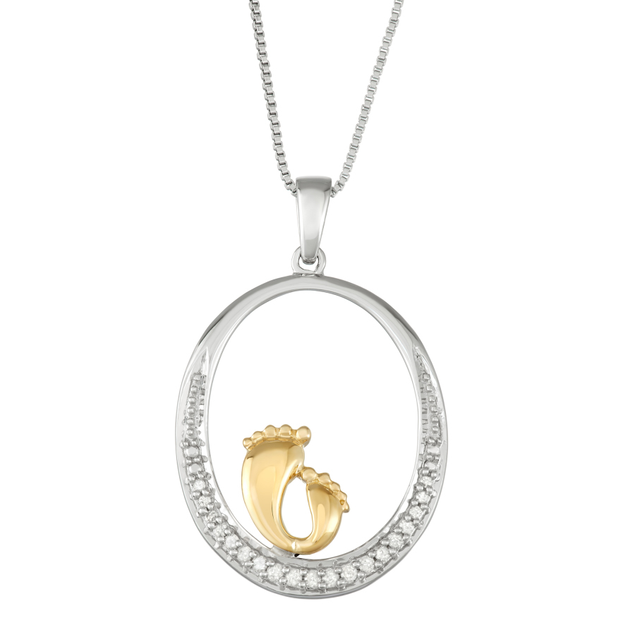 Hetal Diamonds 1/10 Cttw Diamond Pendant With Mother & Child Feet In Sterling Silver In Metallic