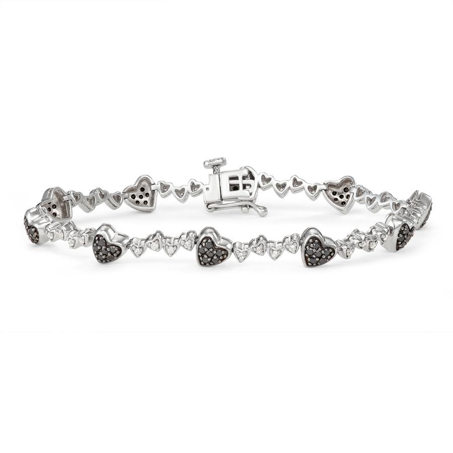 Hetal Diamonds Ss Blk&wht Dia Heart Bracelet(1.00cttw) In Metallic