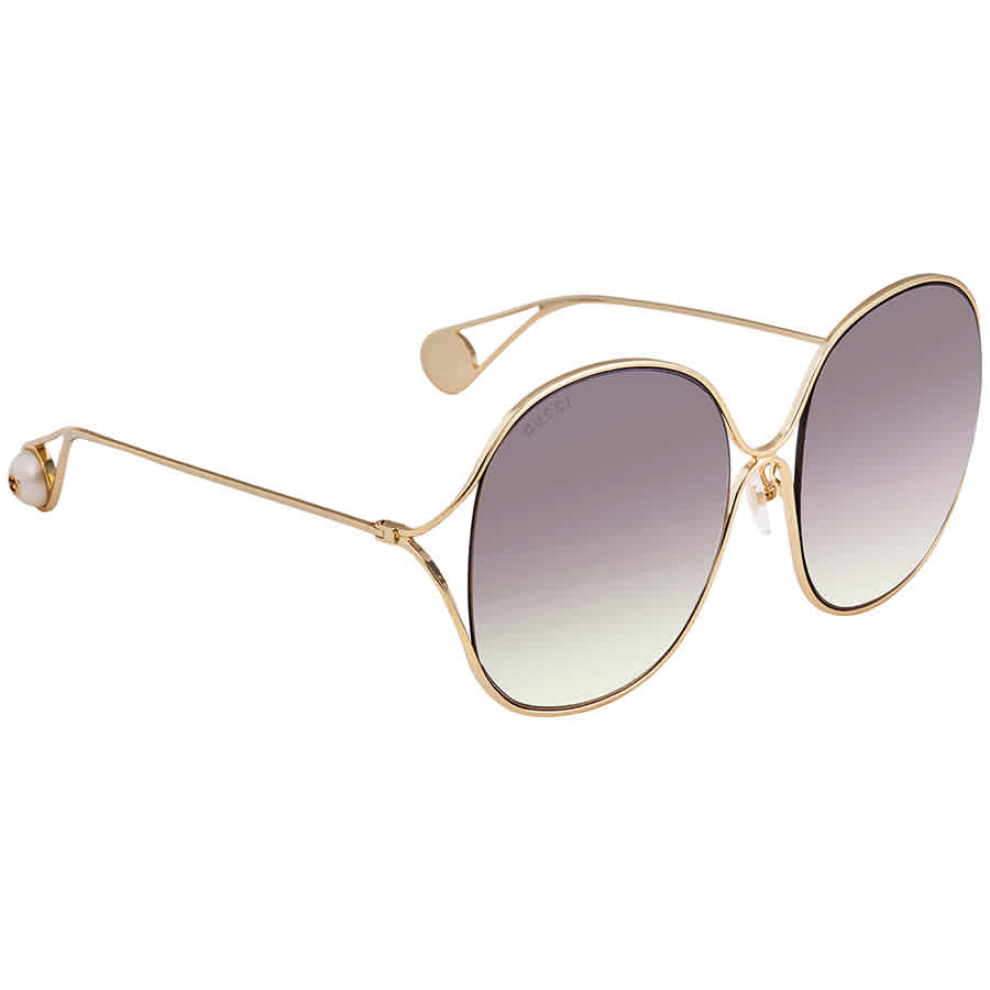 Gucci Light Brown Shaded Oversized Ladies Sunglasses Gg0362s 003 57 In Brown,gold Tone