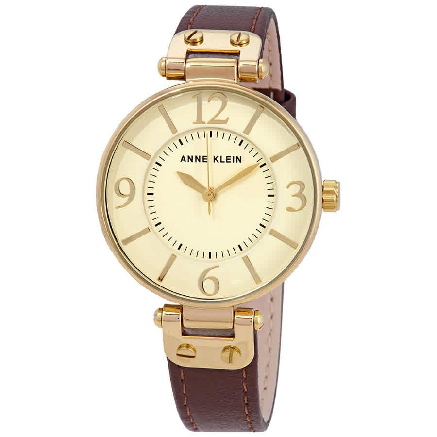 Anne Klein Ivory Dial Ladies Watch 10-9168ivbn In Brown,gold Tone,white