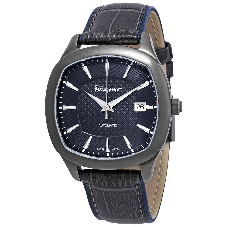 SALVATORE FERRAGAMO FERRAGAMO TIME AUTOMATIC BLUE-GREY DIAL MENS LEATHER WATCH FFW060017