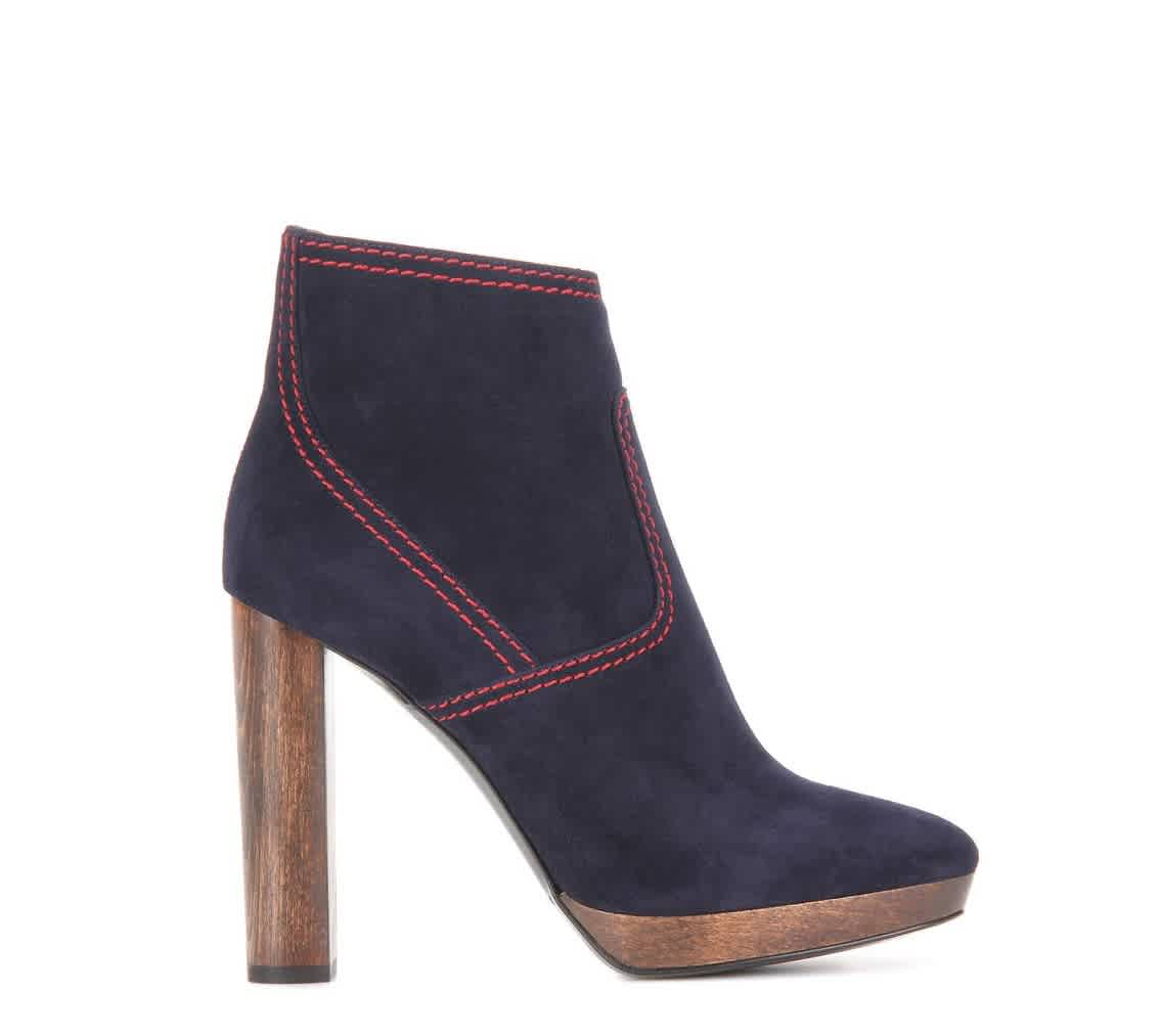 Burberry Ladies Hazelhurst Suede Ankle Boots In Blue,red
