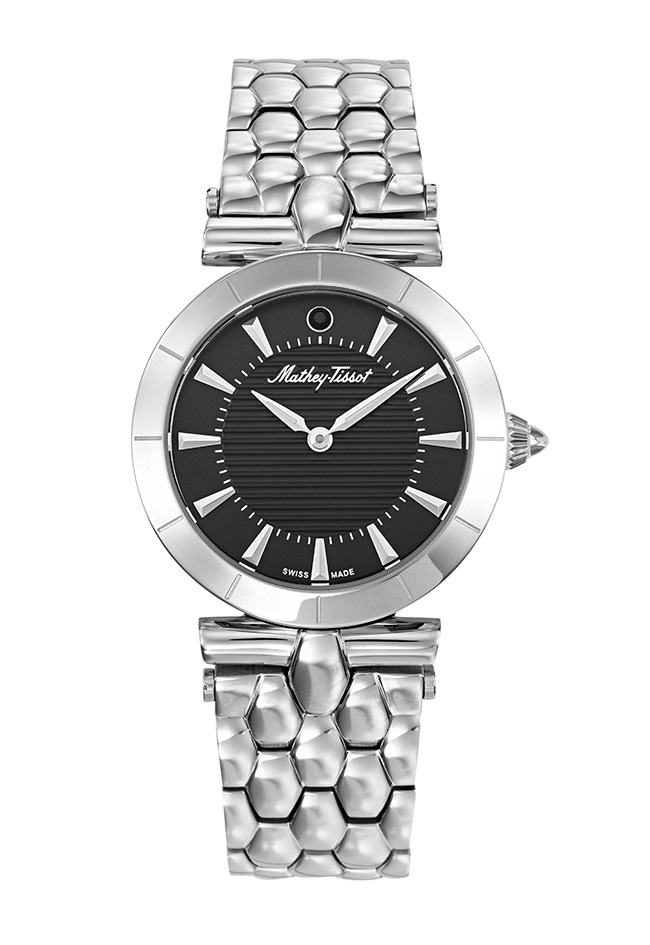 Mathey-tissot Tarta Quartz Black Dial Ladies Watch D106an In Black,silver Tone