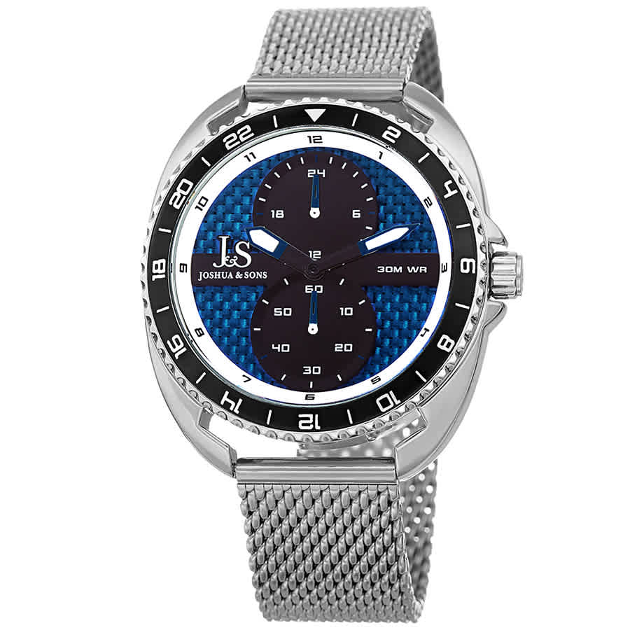 Joshua And Sons Military Time Mens Watch Jx136ssbu In Blue
