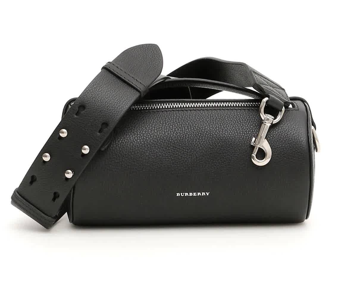 Burberry Black Ladies Cylinder Leather Shoulder Bag