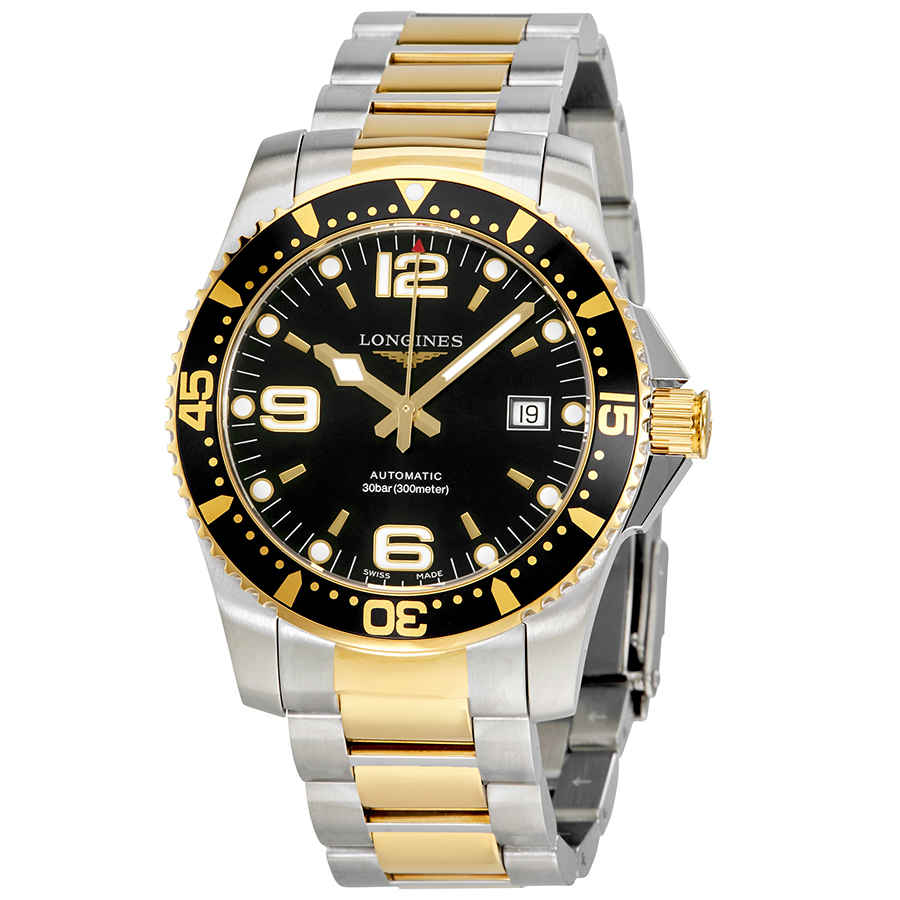 Longines Hydroconquest Automatic Black Dial Mens Watch L36423567 In Black,gold Tone,yellow