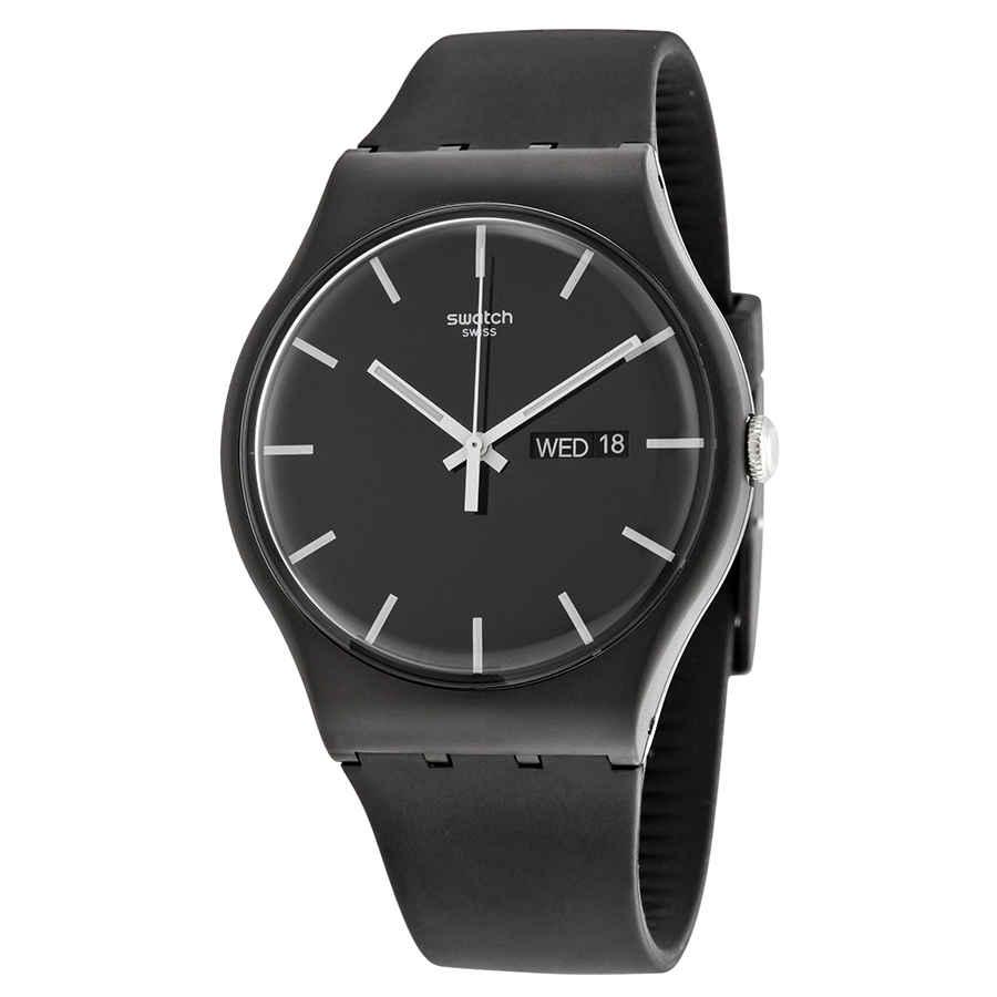 Swatch Mono Black Dial Black Silicone Mens Watch Suob720 In Black,white