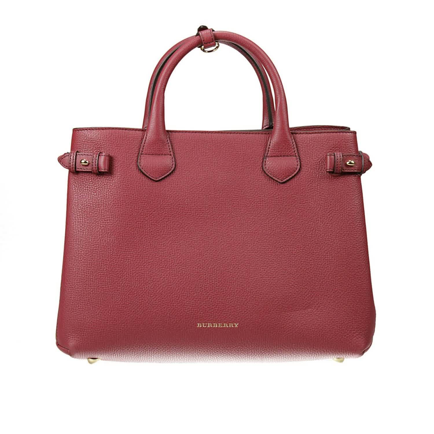 Burberry Medium Banner Leather Bag In Red