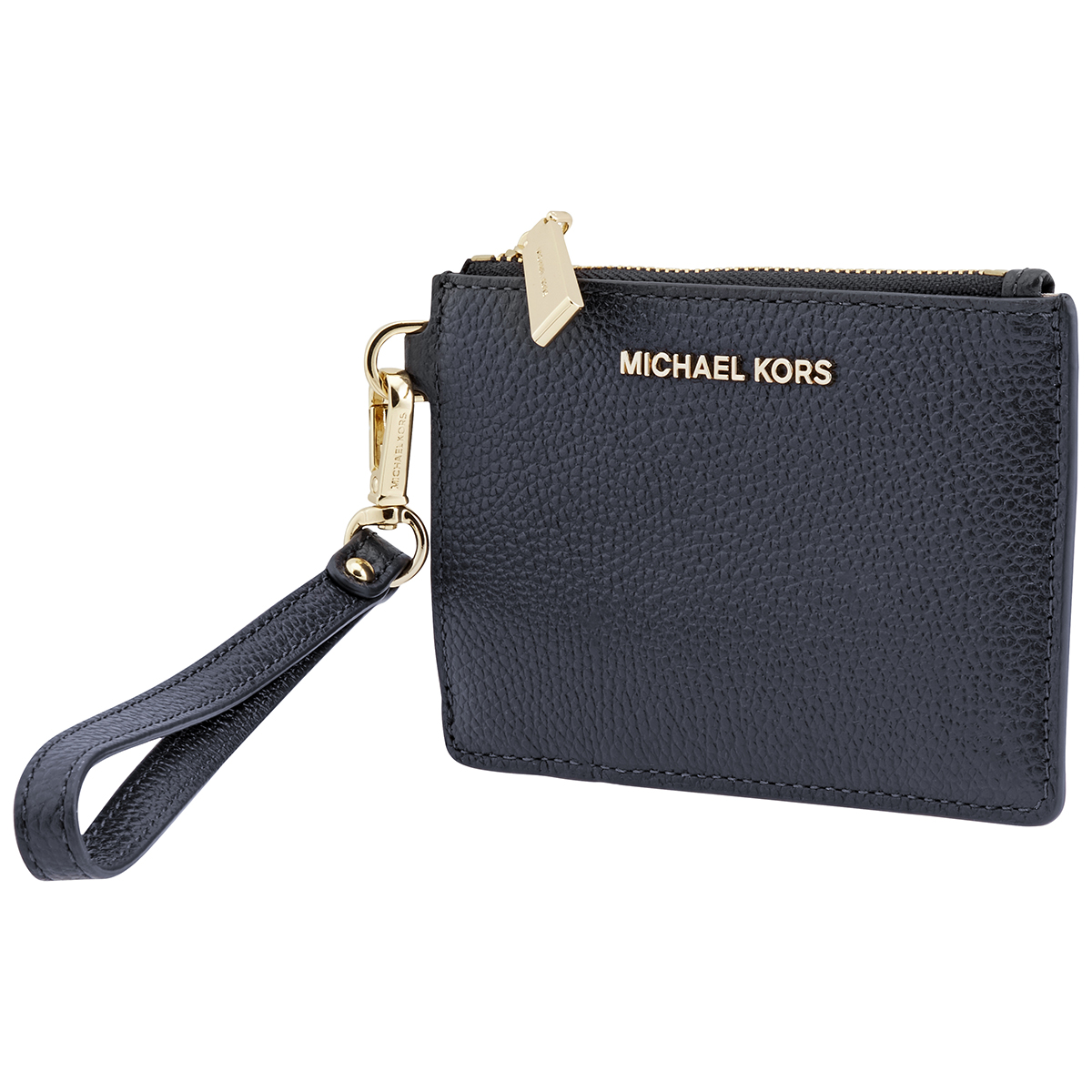 Michael Kors Mercer Pebbled Leather Coin Purse In Blue,gold Tone