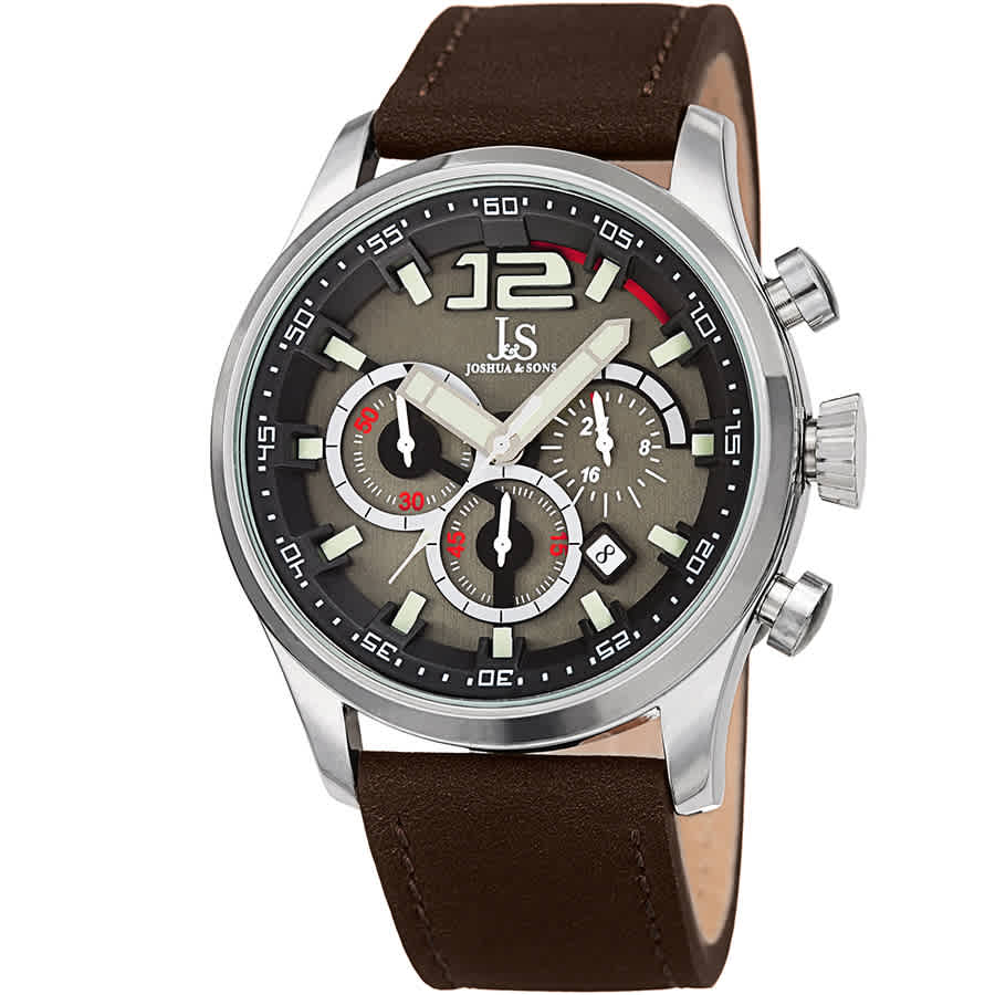 Joshua And Sons Joshua & Sons Chronograph Gunmetal Dial Mens Watch Jx137br In Brown