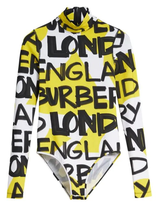 Burberry Graffiti Print Stretch Jersey Bodysuit In Yellow