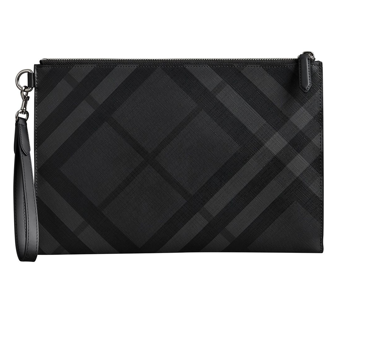 Burberry Charcoal / Black London Check Zip Pouch In Black,grey