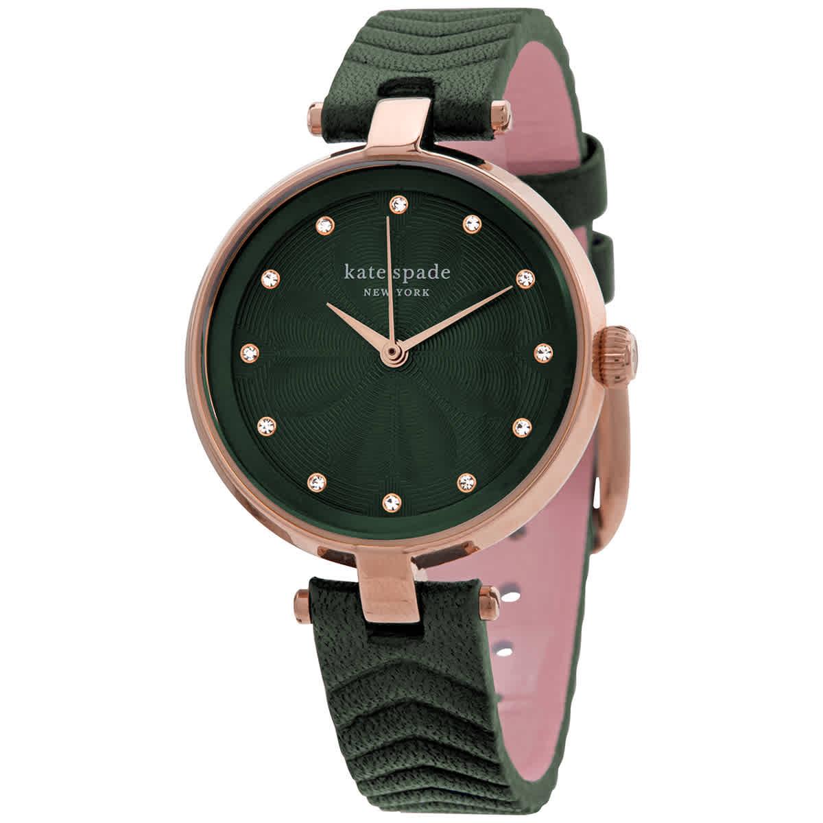 Kate Spade Quartz Green Dial Ladies Watch Ksw1544 In Gold Tone,green,pink,rose Gold Tone