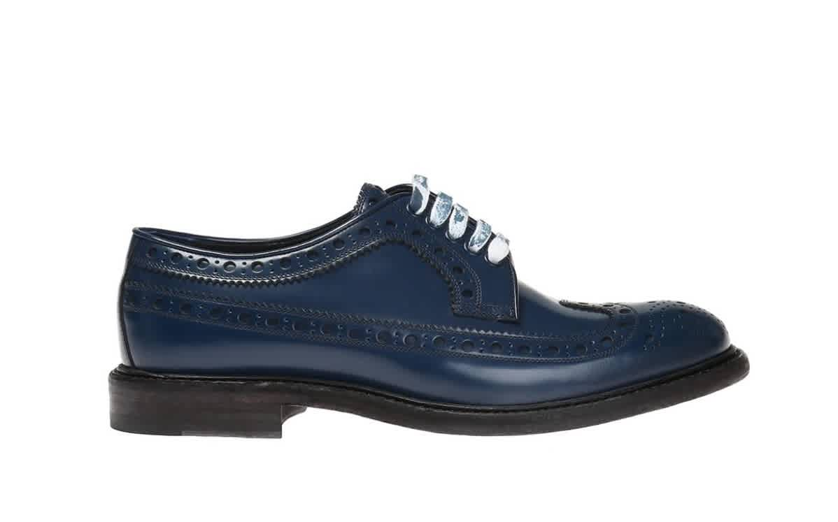 Burberry Mens Leather Brogues With Painted Laces In Black,blue,white