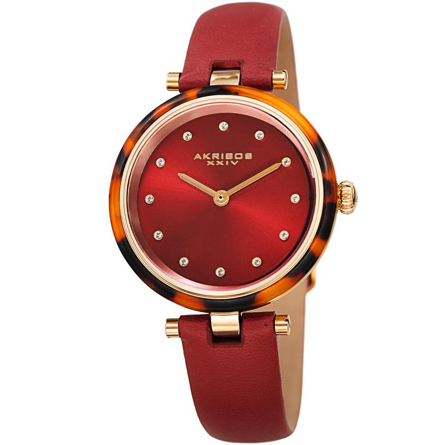 Akribos Xxiv Quartz Crystal Red Dial Ladies Watch Ak1052rd In Gold Tone,red,tortoise