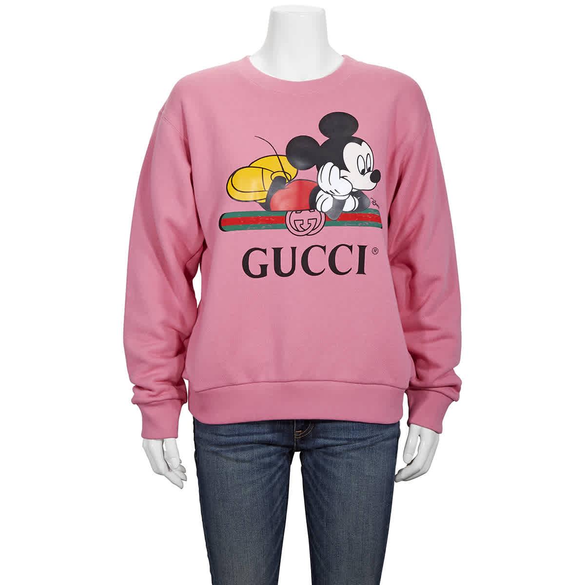 Gucci X Disney Mickey Print Sweatshirt In Pink