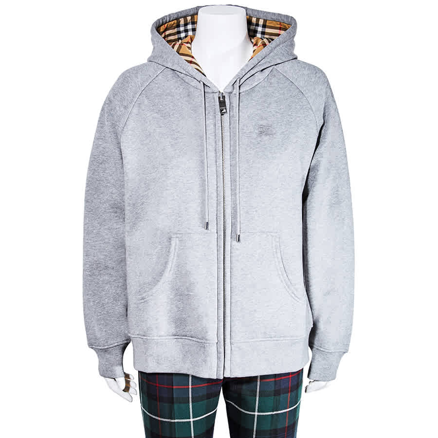Burberry Ladies Vintage Check Detail Jersey Hooded Sweater Size Large In Grey