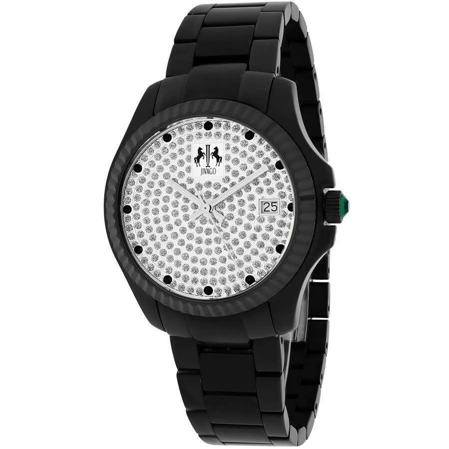Jivago Jolie Silver With Pave Diamonds Dial Black Stainless Steel Ladies Watch Jv3211