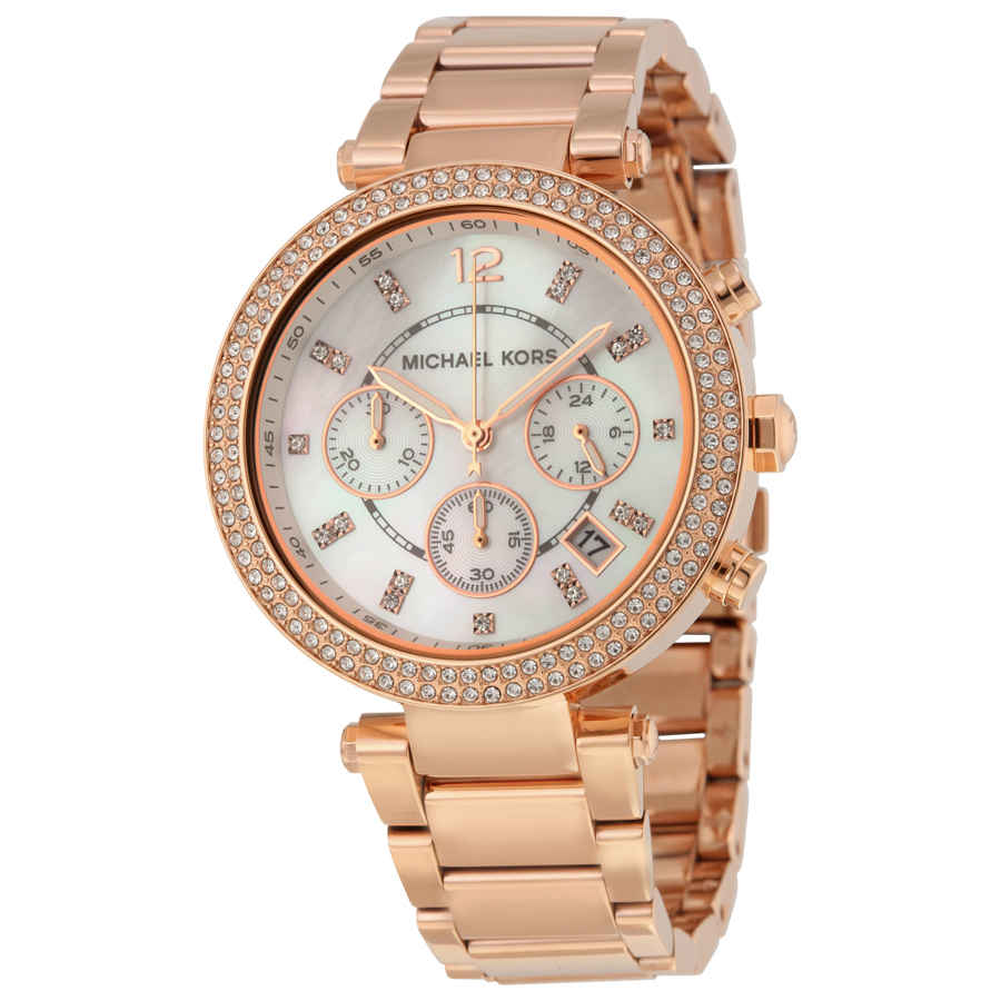 Michael Kors Parker Chronograph Rose Gold-tone Ladies Watch Mk5491 In Gold Tone,mother Of Pearl,pink,rose Gold Tone,white