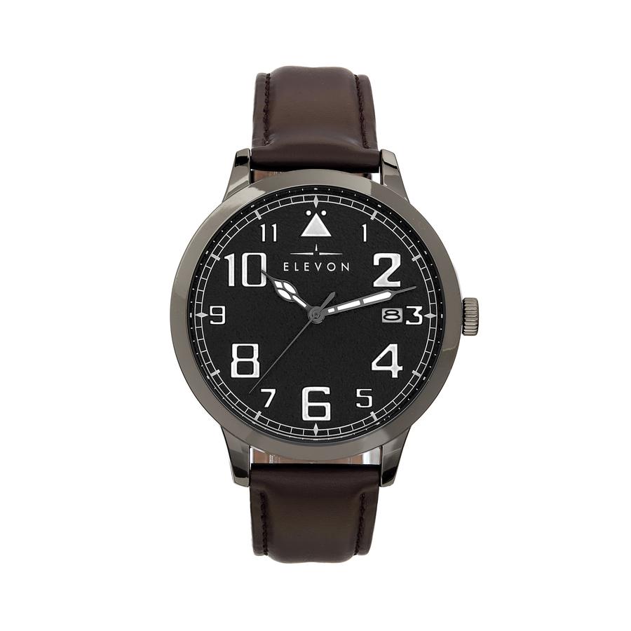 Elevon Sabre Quartz Black Dial Mens Watch Ele121-5 In Brown