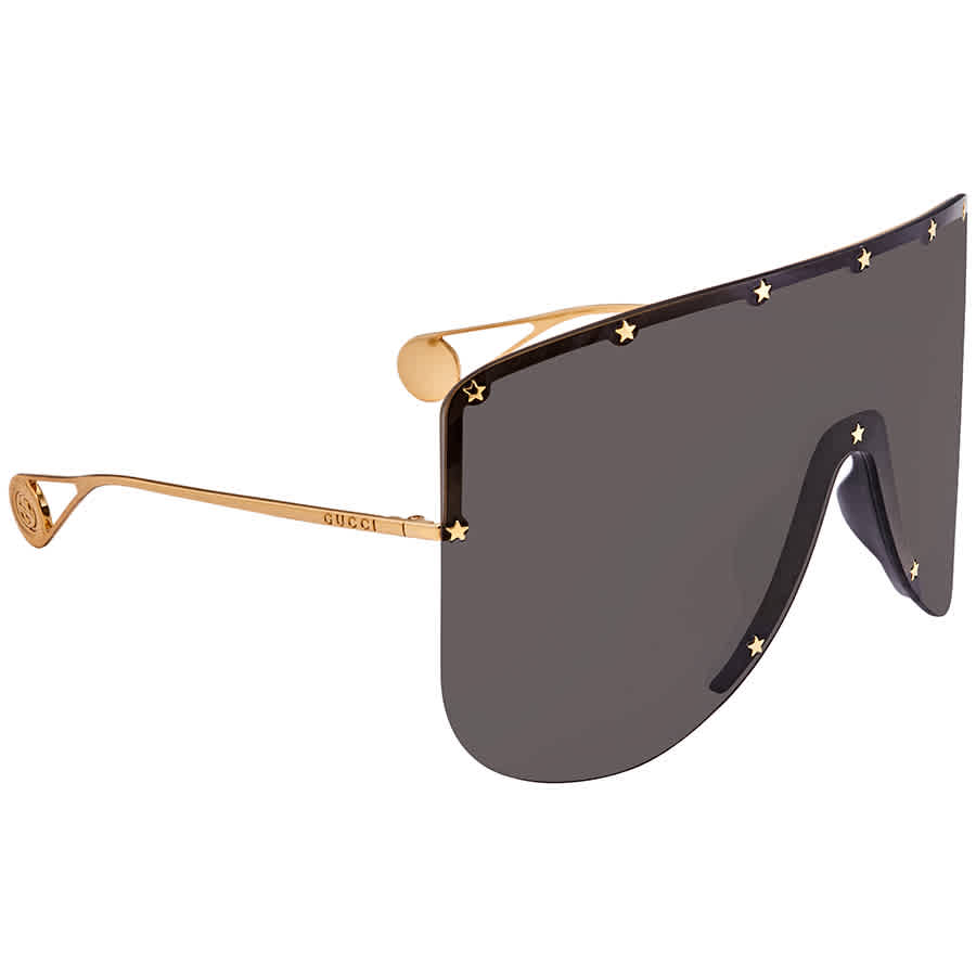 Gucci Grey Oversized Ladies Sunglasses Gg0541s00199 In Gold Tone,grey