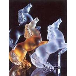 Lalique Figure Rearing Kazak Horse Grey Crystal 12066 In Multi