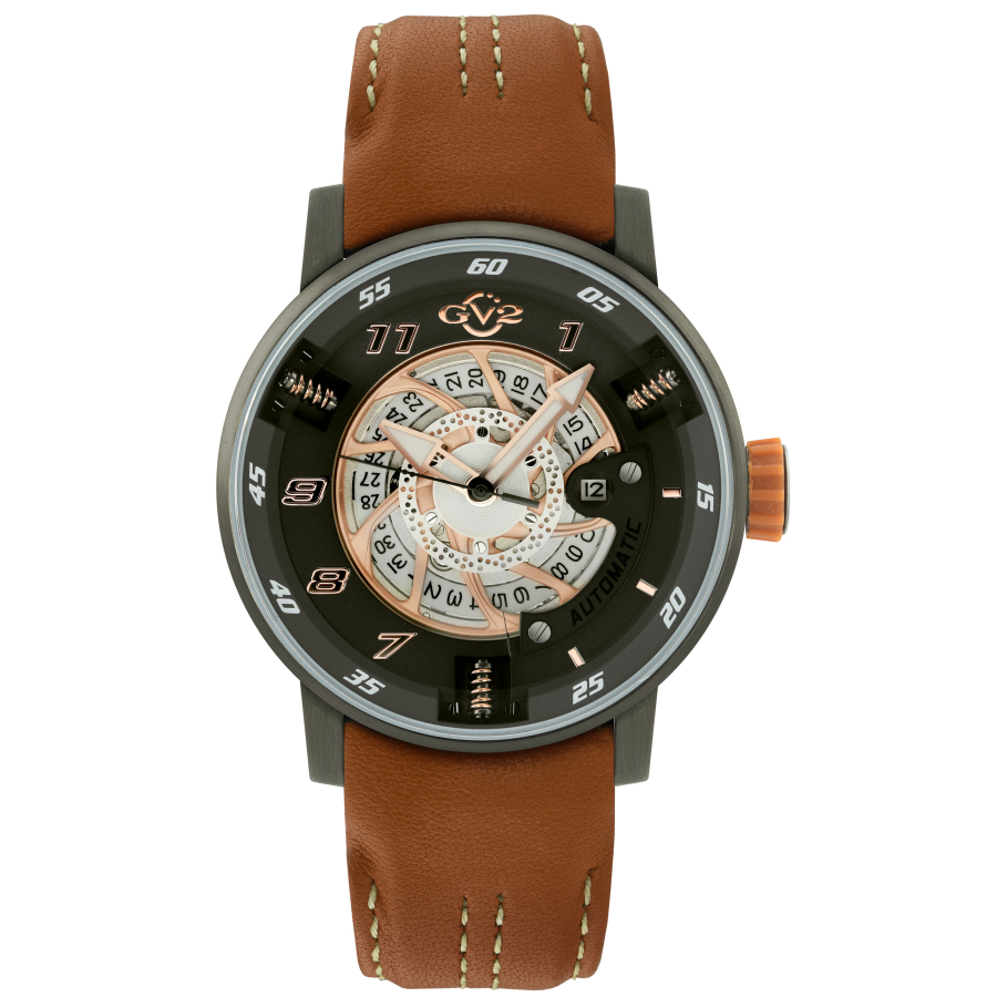 Gv2 By Gevril Motorcycle Sport Automatic Black Dial Mens Watch 1305 In Black,brown,gold Tone,pink,rose Gold Tone