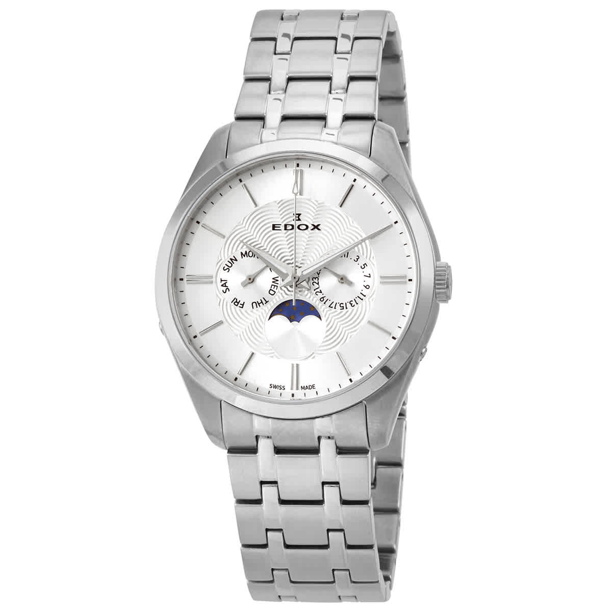 Edox Moonphase Date Silver Dial Mens Watch 40008-3m-ain In Metallic