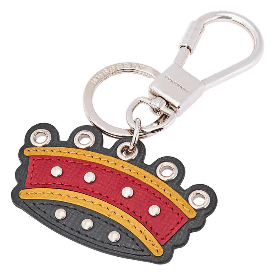 Burberry Crown Key Ring In Leather In N,a