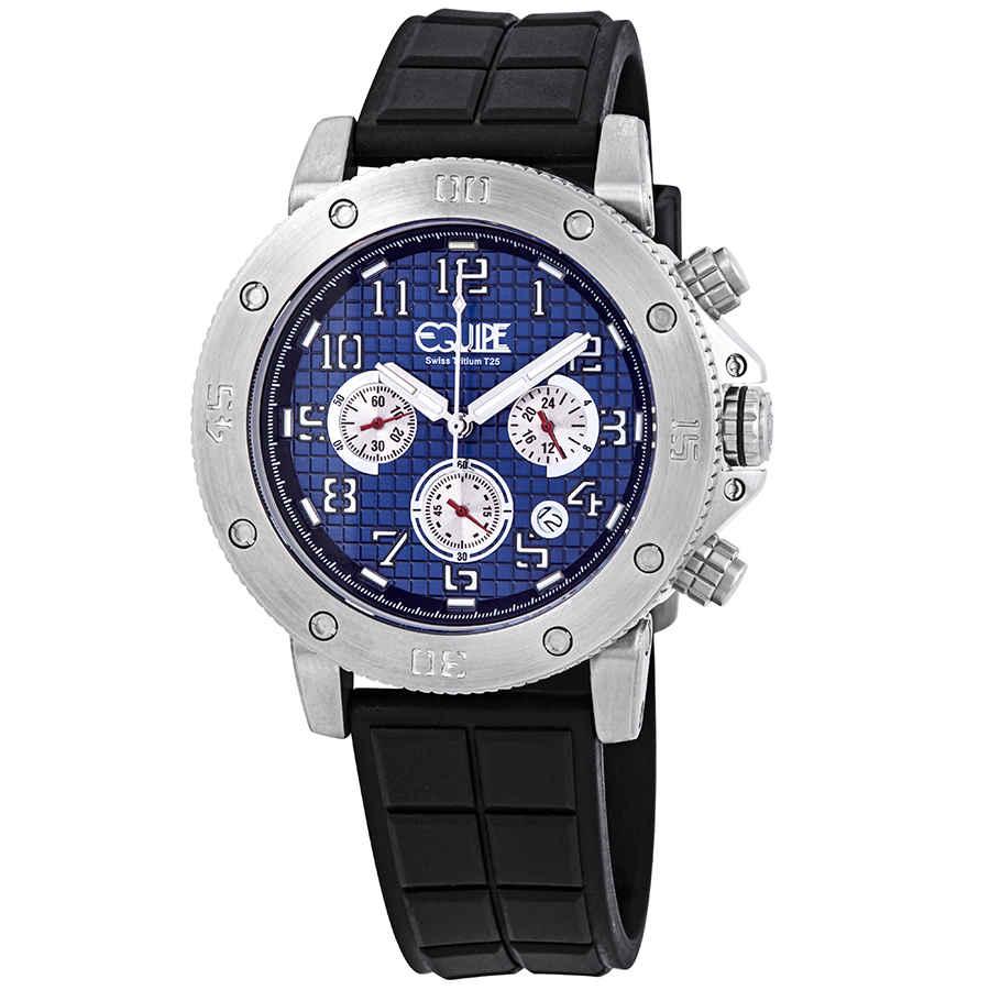 Equipe Tritium Arciform Chronograph Blue Dial Mens Watch Et410 In Black,blue,silver Tone,white