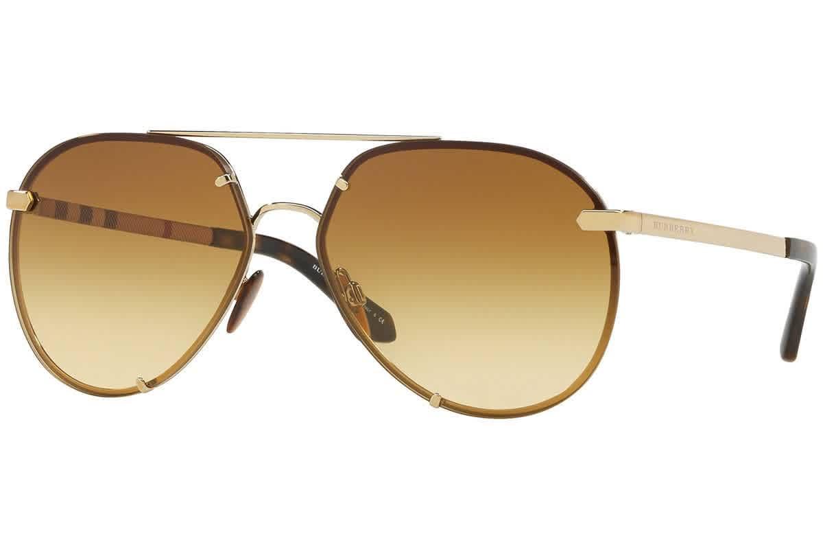 Burberry Light Yellow Gradient / Ochre Aviator Ladies Sunglasses Be3099 11452l 61 In Gold