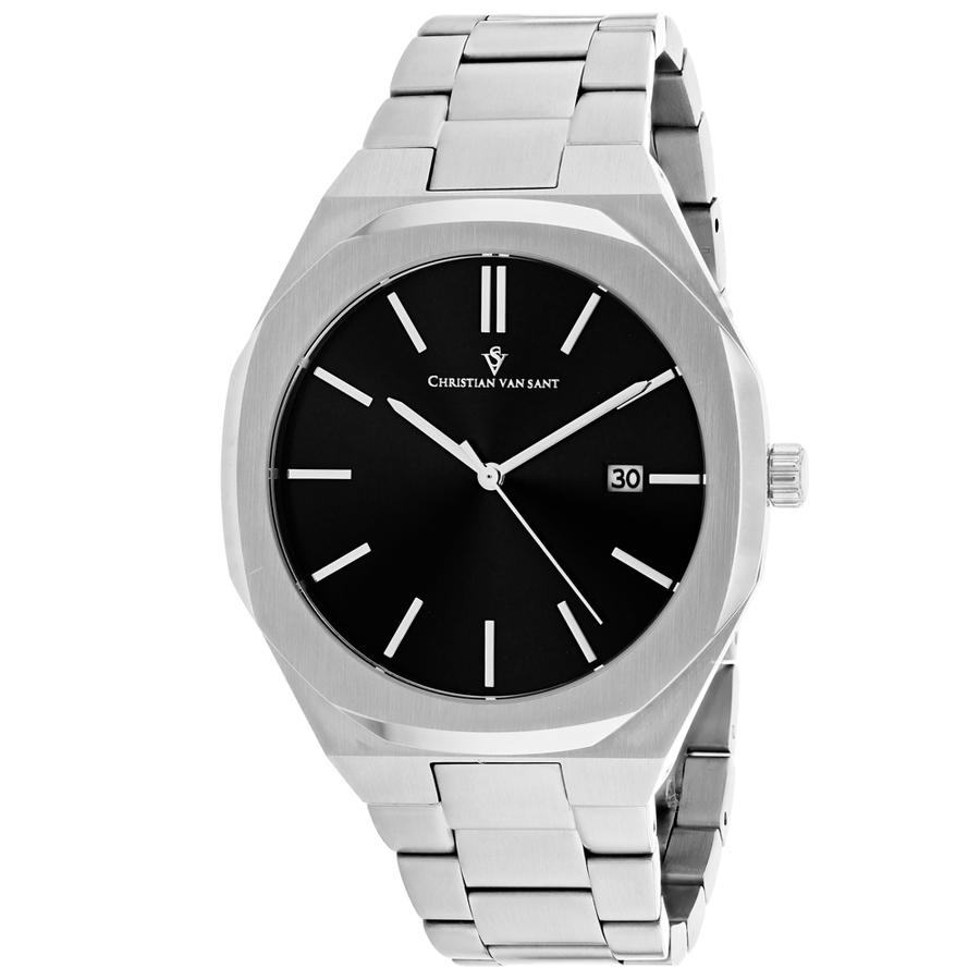 Christian Van Sant Octavius Slim Quartz Black Dial Mens Watch Cv0520 In Black,silver Tone