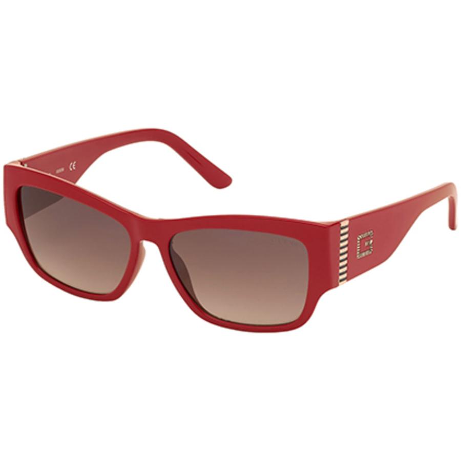 Guess Ladies Red Rectangular Sunglasses Gu7623 66f 57 In Transparent