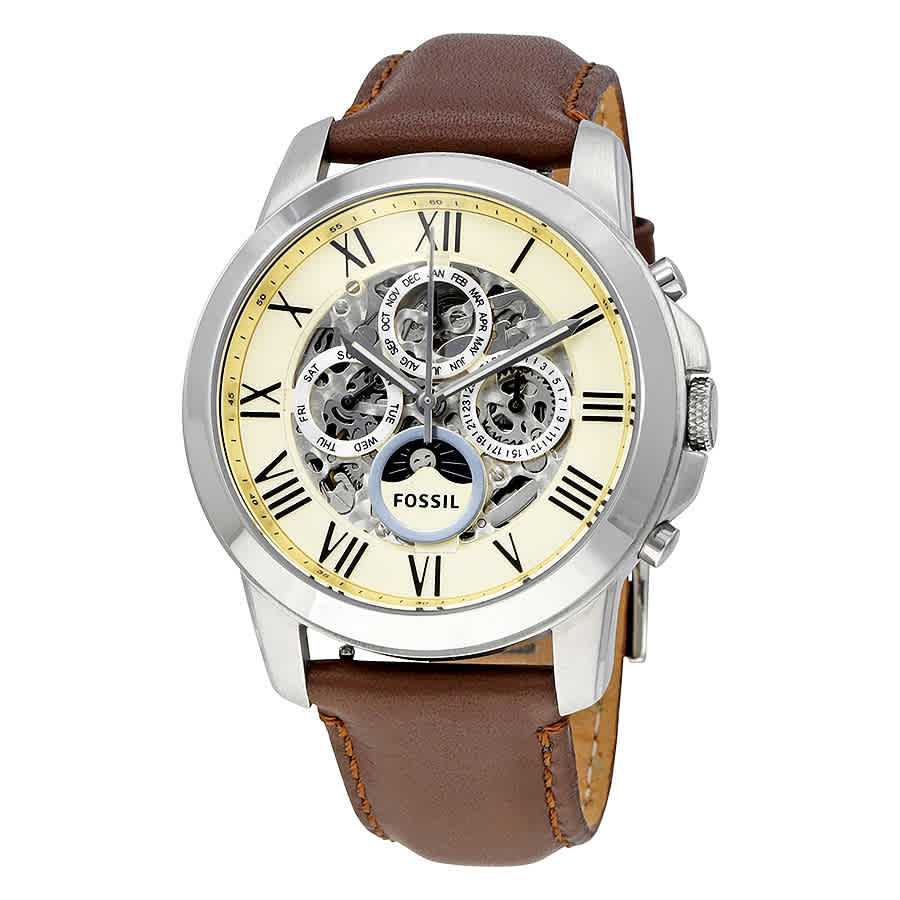 FOSSIL GRANT AUTMATIC MULTI-FUNCTION WHITE DIAL MENS WATCH ME3027