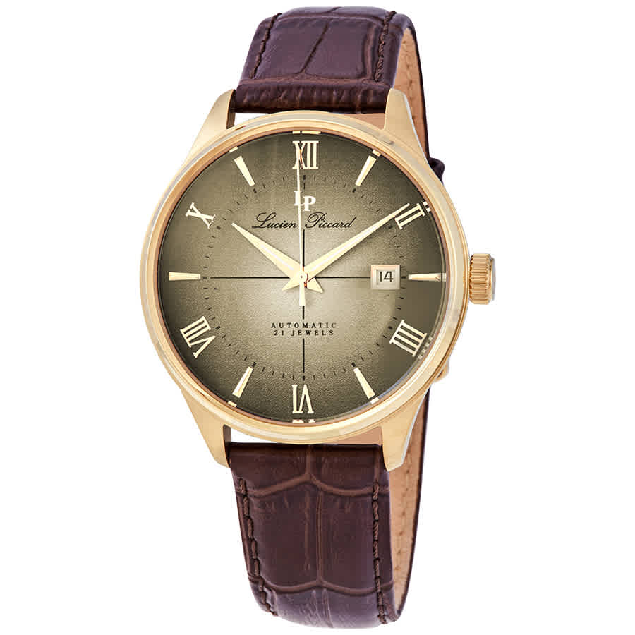 Lucien Piccard Automatic Gold Dial Mens Watch Lp-1881a-yg-016 In Brown