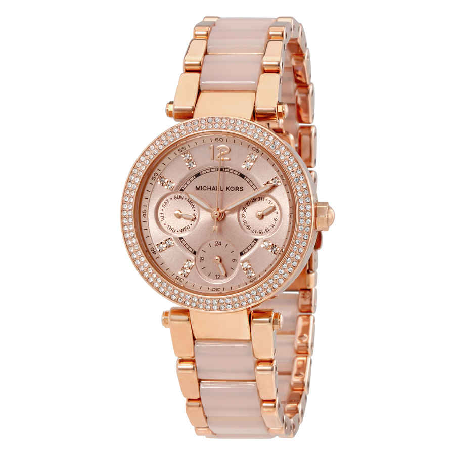 Michael Kors Parker Mini Multi-function Rose Dial Ladies Watch Mk6110 In Beige,gold Tone,pink,rose Gold Tone,two Tone