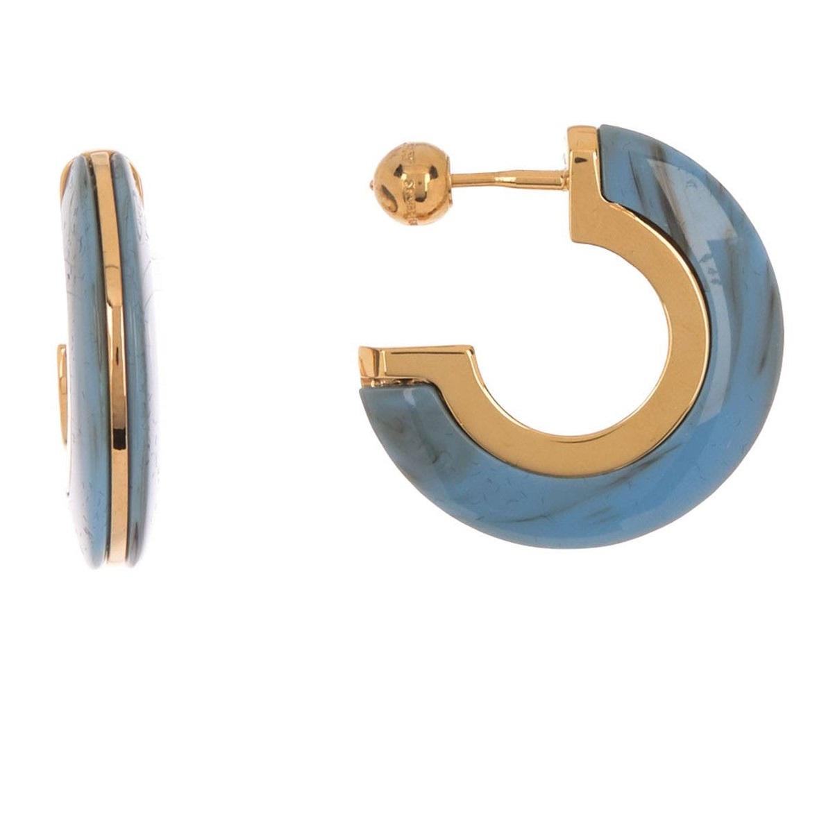 Burberry Ladies Reese Hoop Earrings In Blue,brown,gold Tone