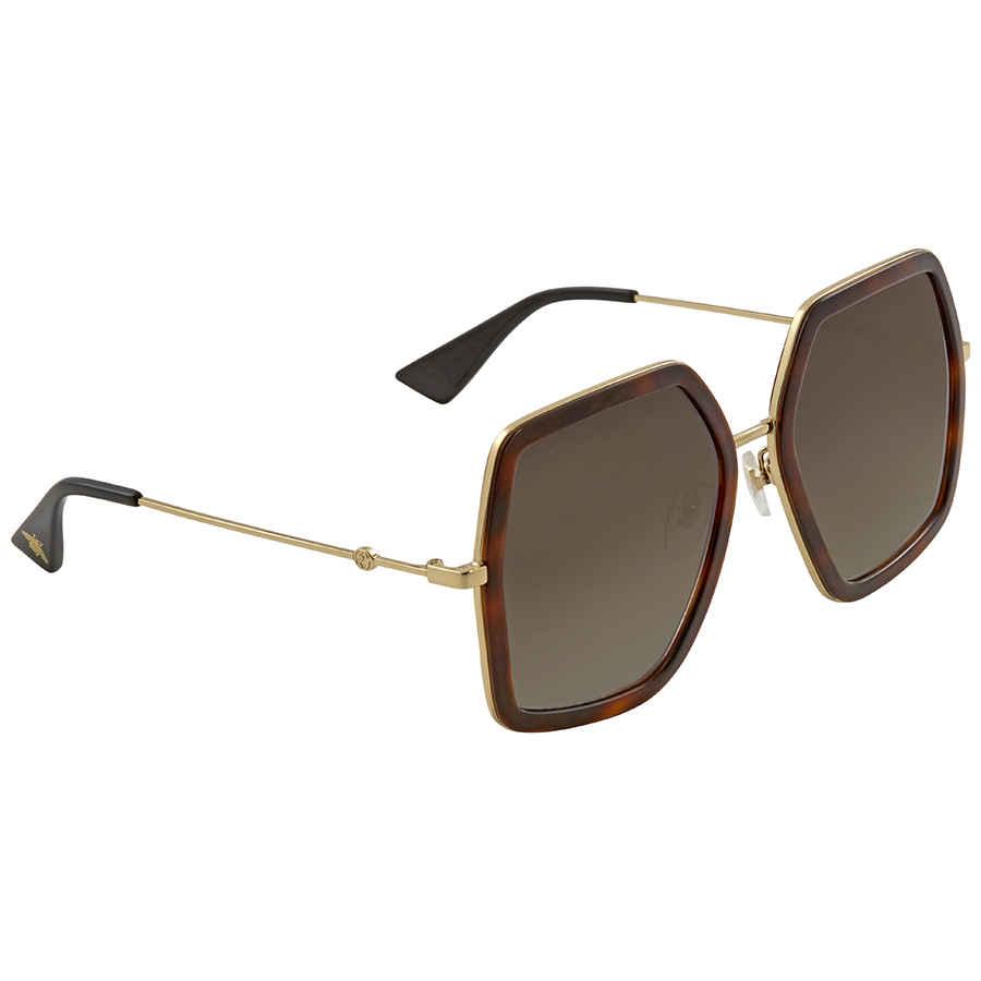 Gucci Brown Gradient Square Sunglasses Gg0106s 002 56 In Brown,gold Tone
